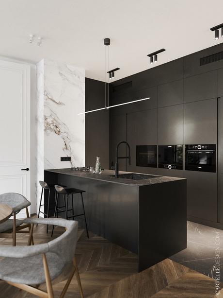 cuisine noire mat placard plan de travail marbre sombre revêtement mural carrelage marbré blanc gris