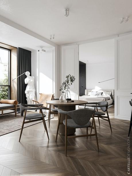 style parisien intérieur 3 pièces appartement noir blanc bois