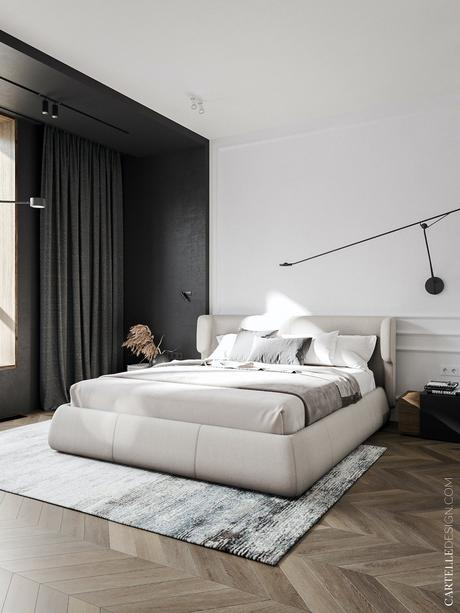 chambre moderne appartement noir blanc bois style Haussmann plafond sombre