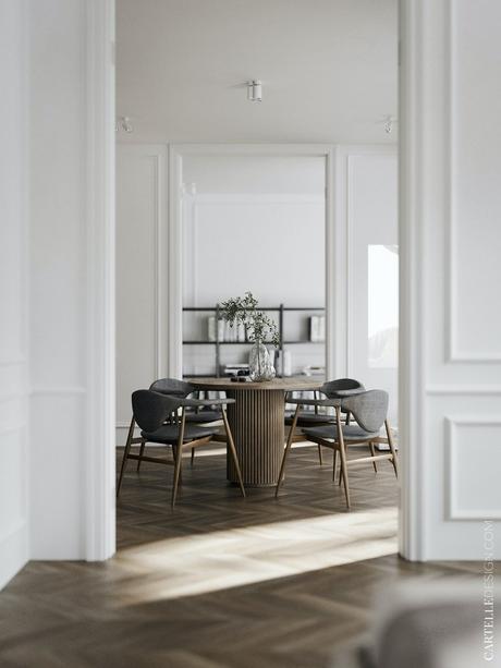 salle à manger table ronde 4 personnes style scandinave rétro design