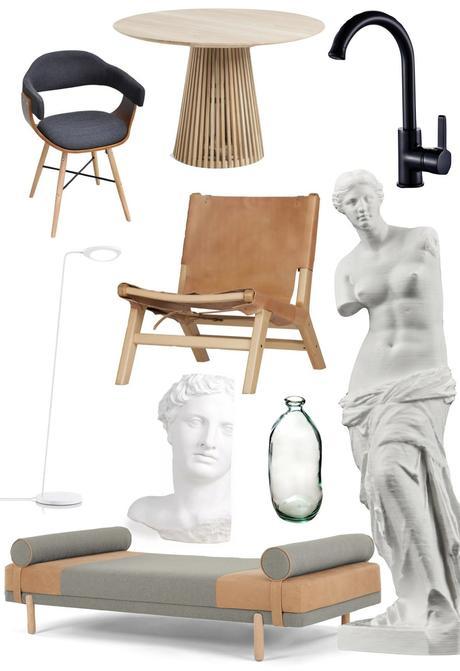 appartement noir blanc bois meuble antique art grecque salon classique neo