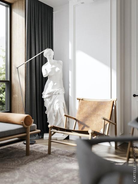 salon arty sculpture néo classique grecque antique - blog décoration intérieur