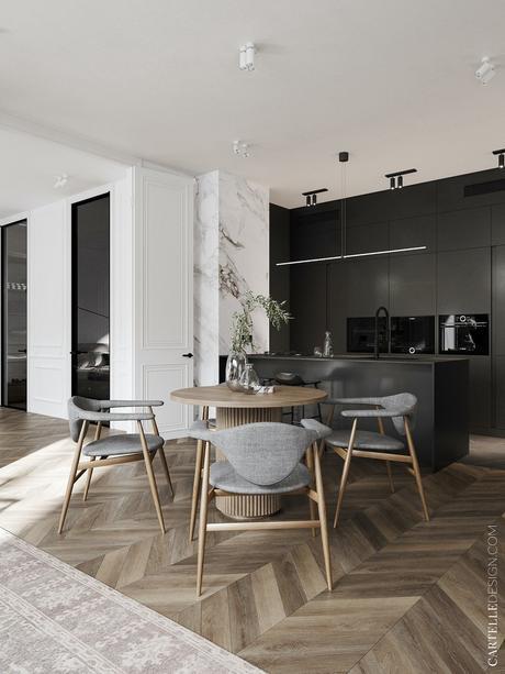 cuisine ouverte appartement noir blanc bois scandinave moderne