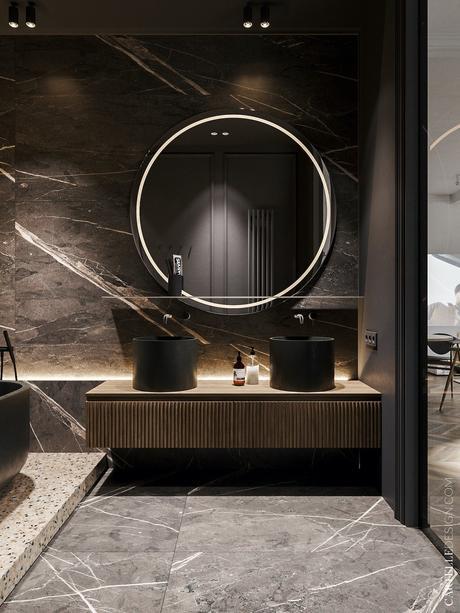 salle de bains noire miroir rond mur marbre grès- cérame - blog déco - clemaroundthecorner
