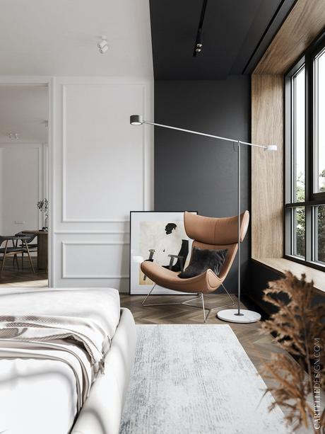 appartement noir blanc bois chambre mur bicolore peinture effet - blog clem around the corner