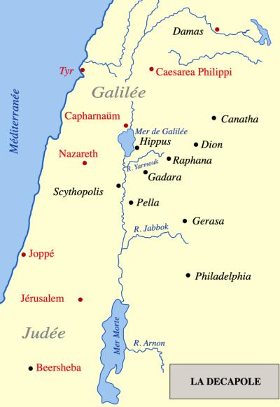 Carte de la Décapole biblique © Nichalp - licence [CC BY-SA 2.5] from Wikimedia Commons