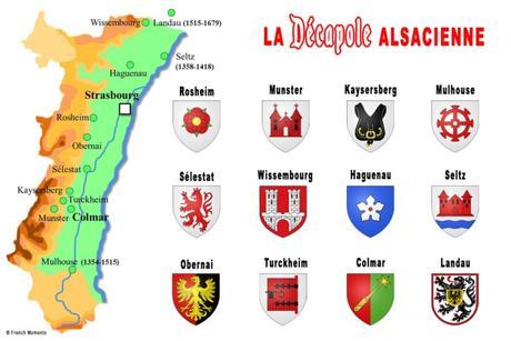 Décapole Alsacienne : carte et blasons © French Moments