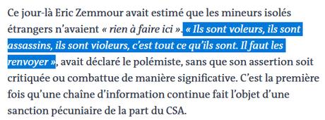 En condamnant CNews, le CSA estime qu'il y a « un risque spécifique » Zemmour,  et pointe la complicité de Kelly