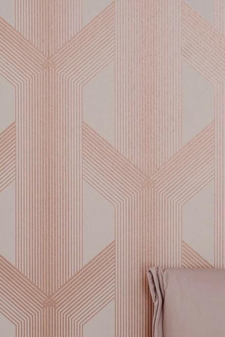 papier-peint géométrique rose gold cuivre