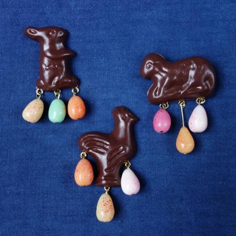 Trois broches Chocolats de Pâques - Lapin, agneau et Poule - La Fille du Consul