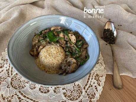 Poêlée crémeuse de champignons, lentilles et épinards