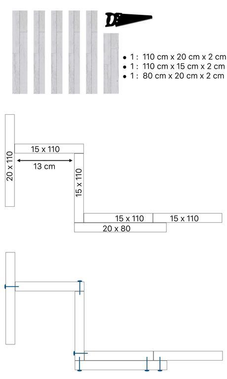 schéma fabriquer table suspendue balcon gain de place bois