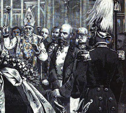 Die Beisetzung der Leiche des Kronprinzen Rudolf — Les funérailles du prince héritier Rodolphe dans la crypte des Capucins