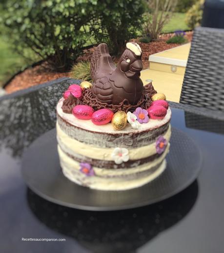 Naked cake ou gâteau à étages vanille chocolat au companion thermomix ou sans robot