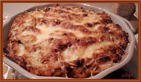 Gratin de pâte au thon et tomate
