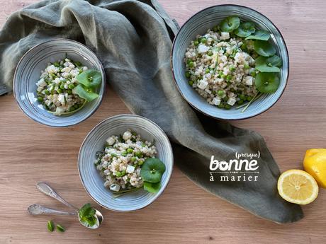 Salade d'orge perlé aux petits pois, feta et menthe {Foodista Challenge #73}