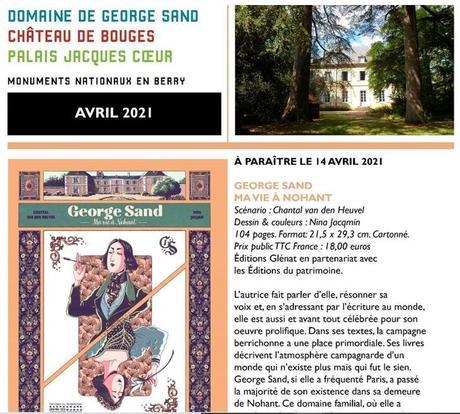 Région Centre   sortie le 14 Avril 2021 du roman graphique « Georges Sand – ma vie à Nohant »