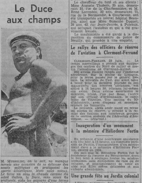 Mussolini et Heliodore Fortin, Le Journal 30 Juin 1935 Gallica