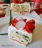 Sandwich Cake truite fumée & concombre