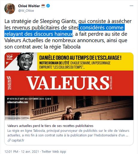 L'argent n'a pas d'odeur… mais sent de plus en plus mauvais,  chez Valeurs « actuelles » … (vive les  @slpng_giants_fr )