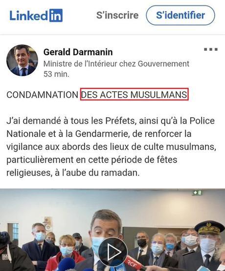 le gouvernement envoie le pompier pyromane Darmanin éteindre l'incendie qu'il a lui-même allumé… #islamophobie #Rennes #Avicenne