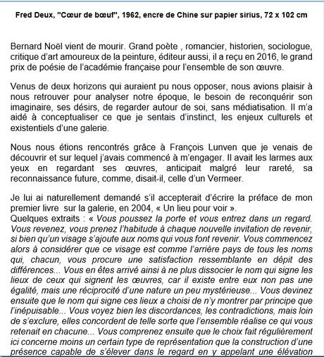 Galerie Alain Margaron « Le temps du regard » une grande disparition :Bernard Noel .