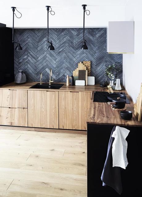 cuisine déco industrielle mobilier bois revêtement mural béton