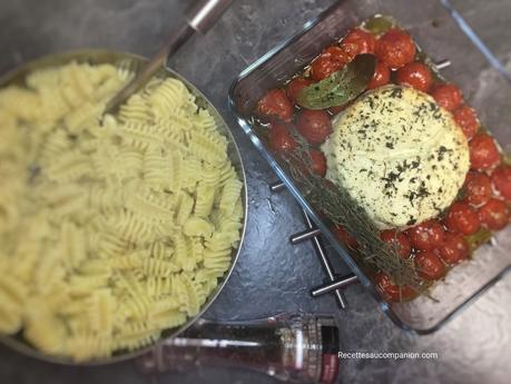Pâtes crémeuses au boursin et tomates cerises grillées