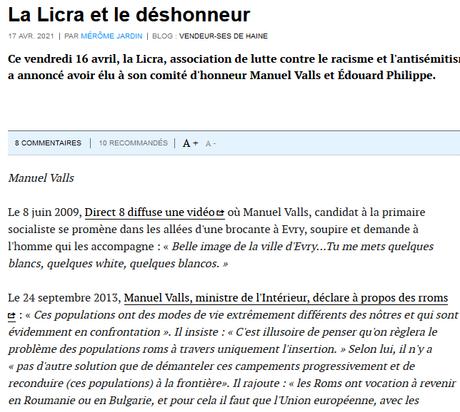 Valls, un raciste autoritaire, au comité du déshonneur de la @_LICRA_