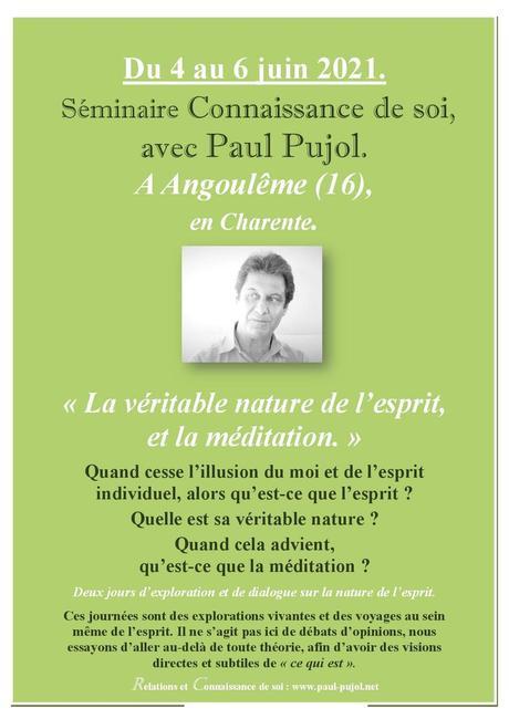 5 au 6 juin à ANGOULÊME: Séminaire Connaissance de soi avec Paul Pujol