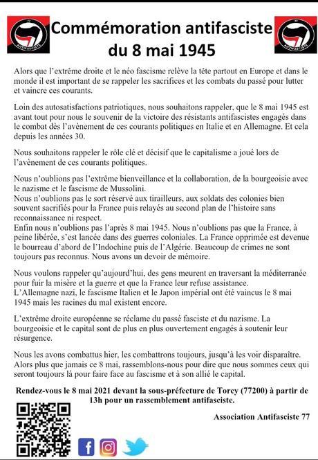Commémoration antifasciste du 8 mai 1945 à Torcy (77)
