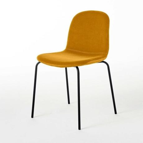 chaise velours minimaliste pied métal noir