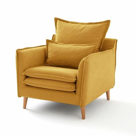 fauteuil déco jaune salon moutarde lin