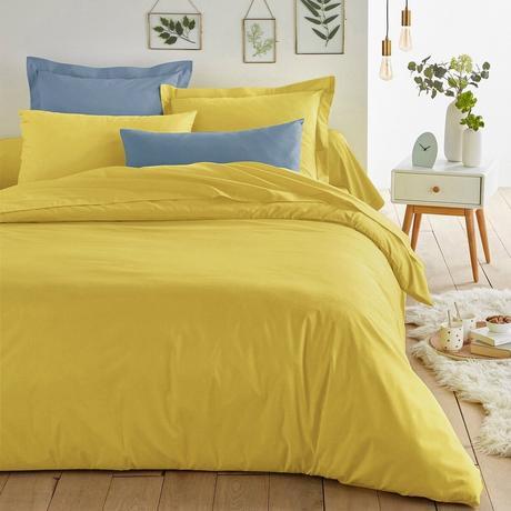 déco jaune chambre drap lumineux coton bleu pastel