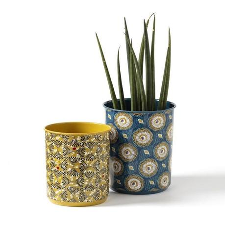 vase cache pot motif wax dessin africain