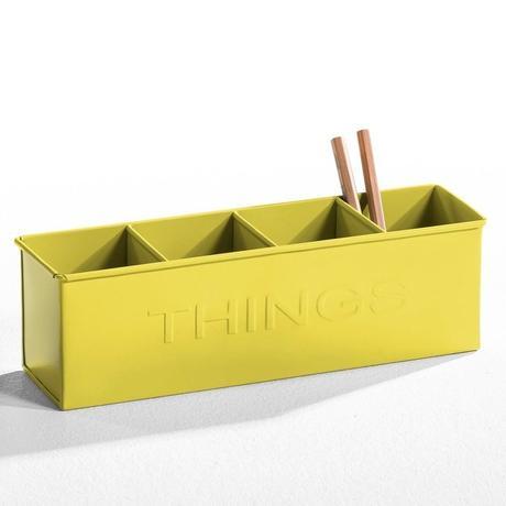porte crayon organiseur bureau jaune métallique