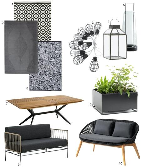 canapé tapis lanterne noire et blanctable bois