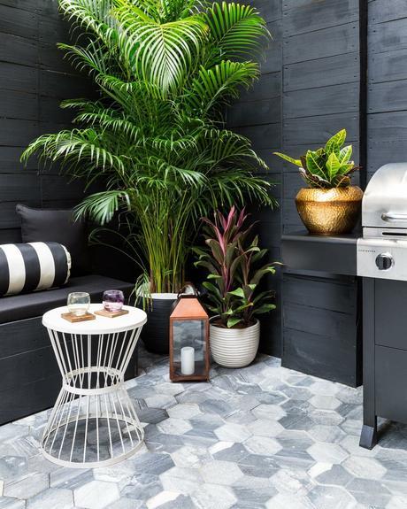 terrasse noire mur bois plante verte table basse ronde blanche