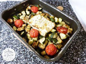 Légumes et feta rôti au four