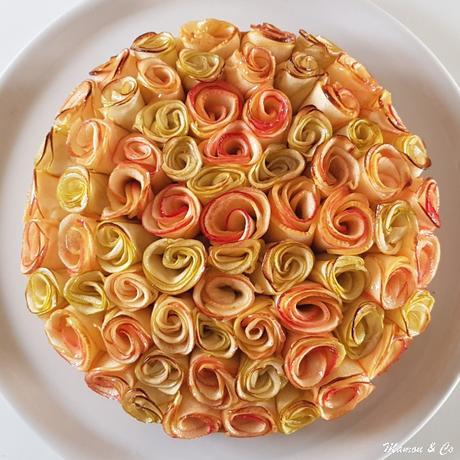 Tarte aux pommes bouquet de roses