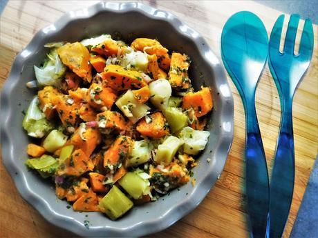 Salade blancs de poireaux et patates douces