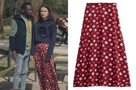 ICI TOUT COMMENCE : la jupe rouge à fleurs d'Anaïs dans l'épisode 133