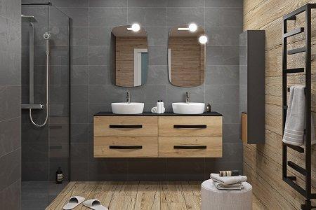 salle de bains zen noir mat bois