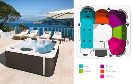 bain remous chaud kiné extérieur jacuzzi massage position