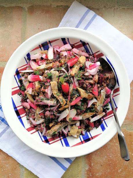 Salade de lentilles, betterave, hareng & radis