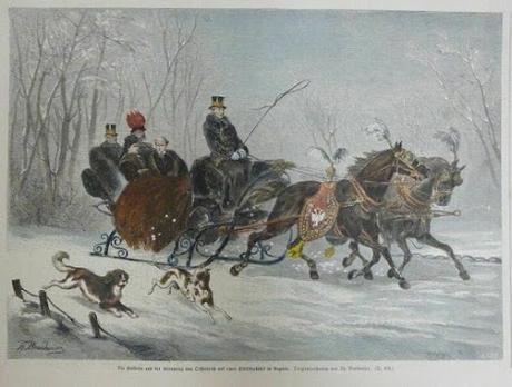 Die Kaiserin und der Kronprinz Rudolf auf einer Schlittenfahrt in Ungarn / Sissi et son fils en traîneau en Hongrie