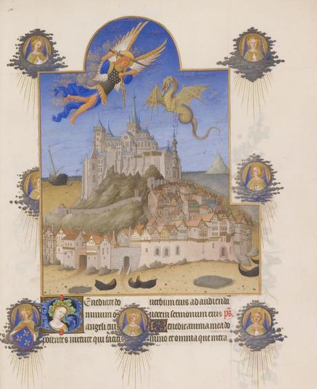 Les_Tres_Riches_Heures_du_duc_de_Berry Musee Conde Chantilly MS 65 fol 195 Le Mont Saint-Michel Limbourg 1411-16