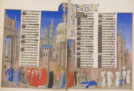 Les_Tres_Riches_Heures_du_duc_de_Berry Musee Conde Chantilly MS 65 fol 71v-72 Procession de saint Gregoire et chateau St Ange Limbourg 1411-16