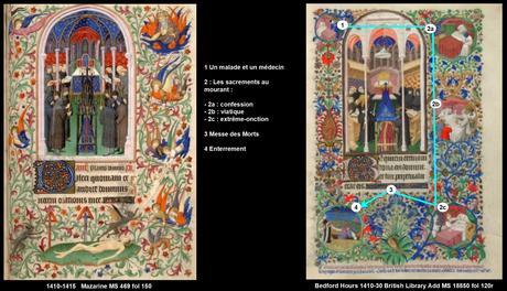1410-1415 Maitre de la Mazarine Maitre de Bedford Comparaison 150Messe Morts