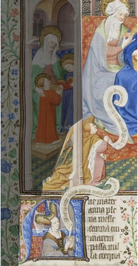 Maitre de Bedford, 1424-1435, Breviaire de Salisbury, pour le duc de Bedford BNF Lat 17294 fol 518r Sainte Parente avec duchesse Anne gallica detail
